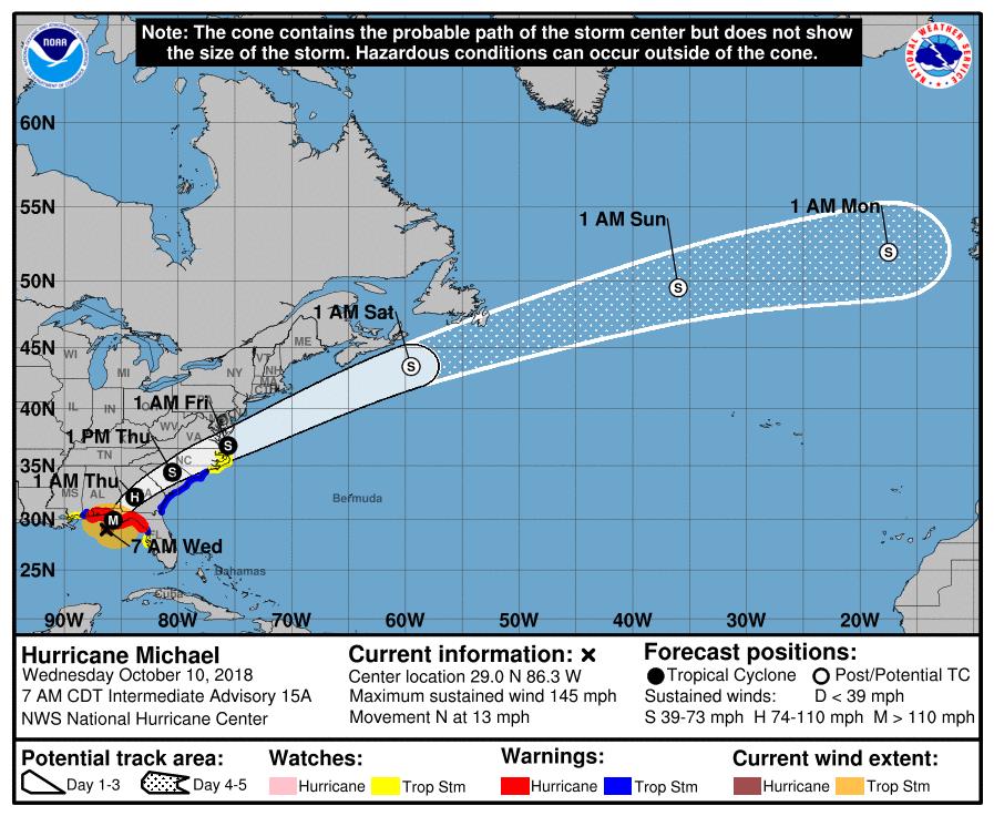 Huracan michael categoría cuatro impactará la florida en las proximas hora