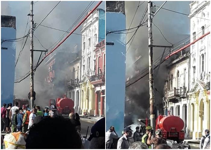 Candela en Centro Habana, una guagua se incendia en plena calle