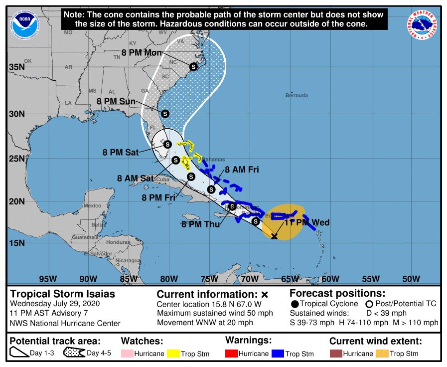 Aviso de ciclón tropical por la tormenta Isaías