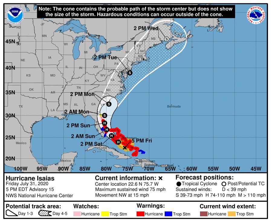 Huracán Isaías continúa su paso hacia la Florida
