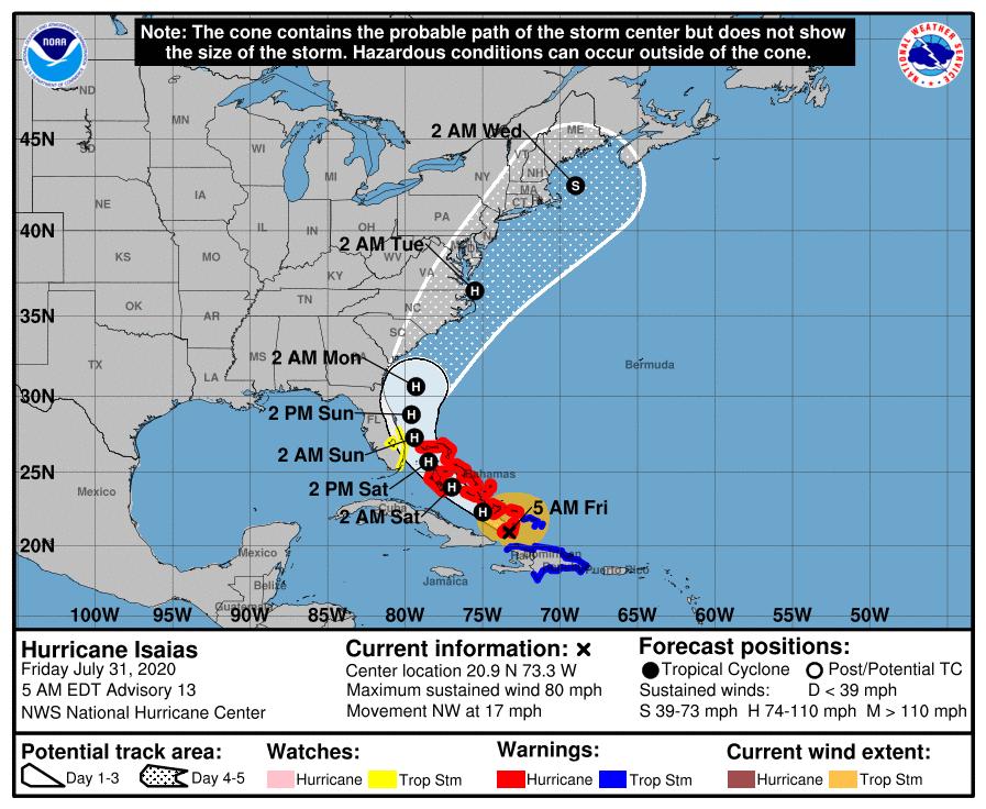 Isaias se convierte en Huracan en su avance hacia la costa este de la Florida