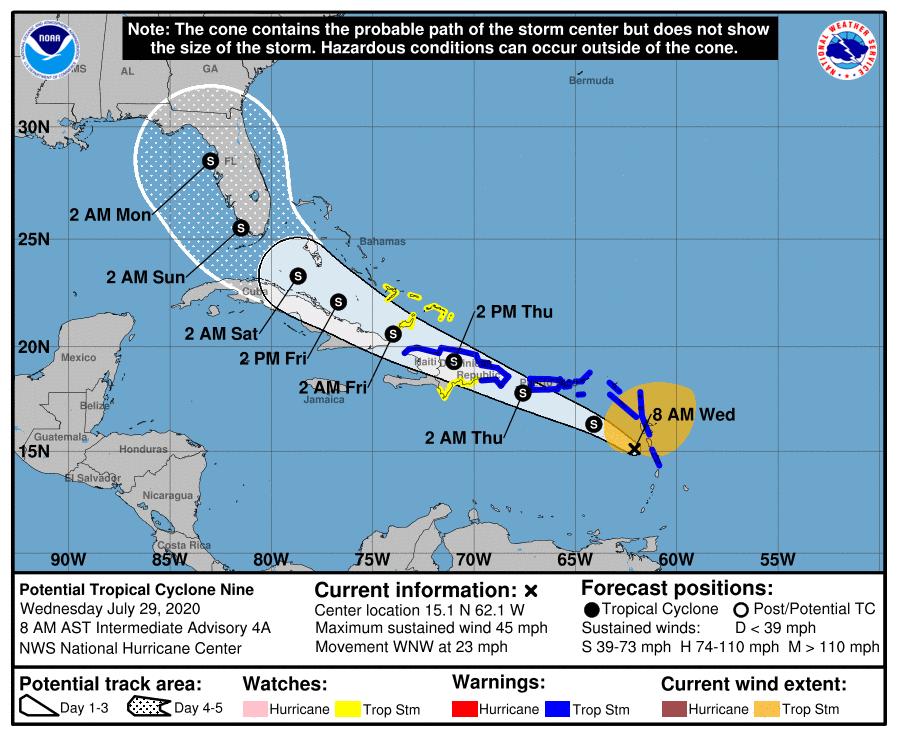 Posible tormenta tropical Isaias afectaria el norte de Cuba y la Florida