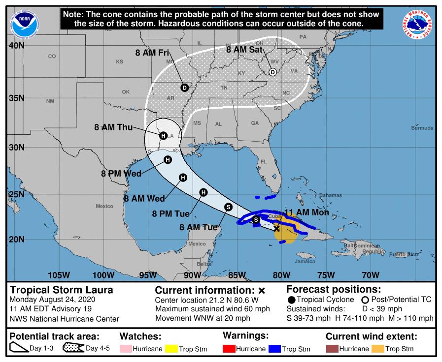 ¡Último Aviso! Tormenta tropical Laura continúa al sur de Cuba
