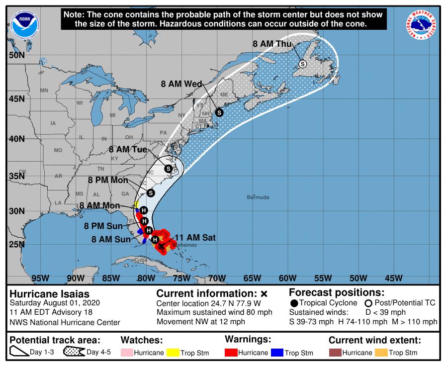 Huracán Isaías se acerca a la Florida