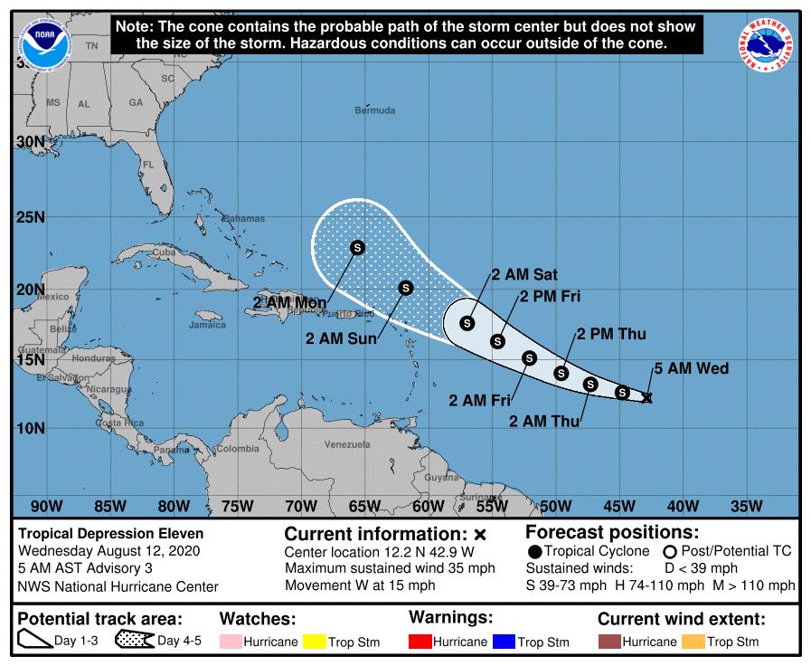 Próxima a convertirse en tormenta la depresión tropical No. 11