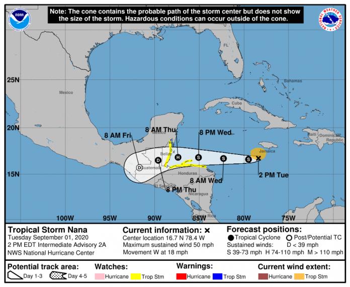 Tormenta tropical Nana se mueve al sur, no ofrece peligro para Cuba