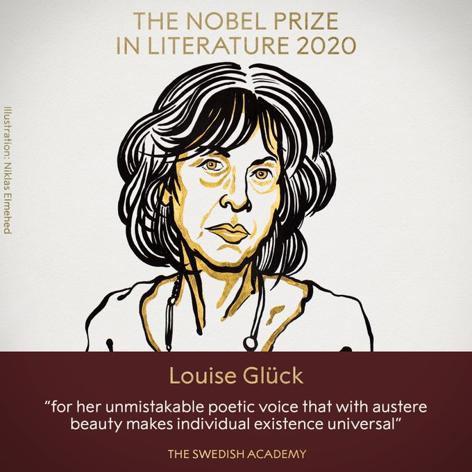 Estadounidense Louise Glück obtiene el Premio Nobel de Literatura 2020