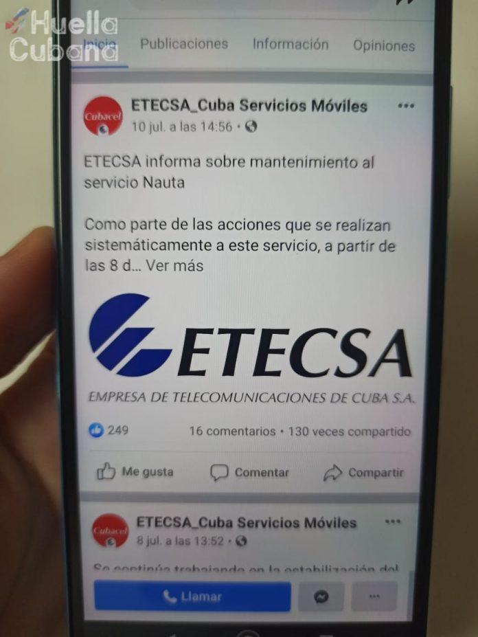 ETECSA informa a los clientes de telefonía fija que, por dificultades en el proceso de facturación, ha existido demora en la emisión de la factura
