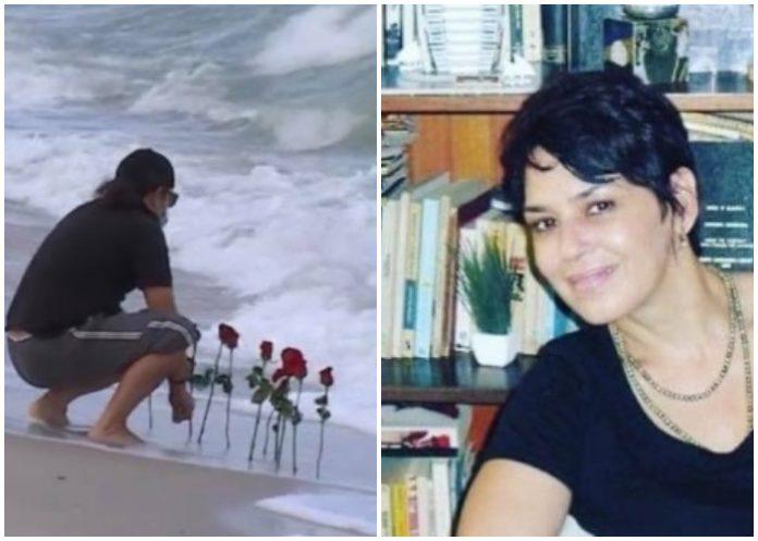 ¡Desgarradora imagen! Pareja de Broselianda Hernández le lleva flores al mar