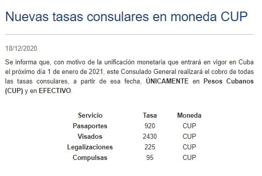 Consulado de España en La Habana. Nuevos precios de visas, pasaportes, legalizaciones y compulsas